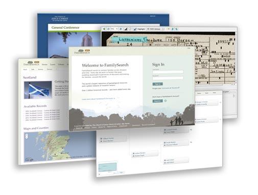 Um conjunto de telas de várias páginas do site do FamilySearch